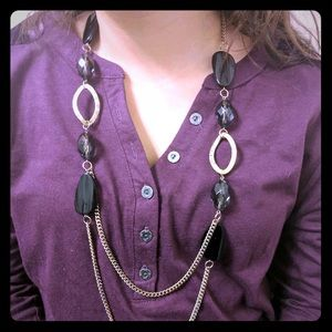 Jewelry - Black Beads with Gold Chain Necklace